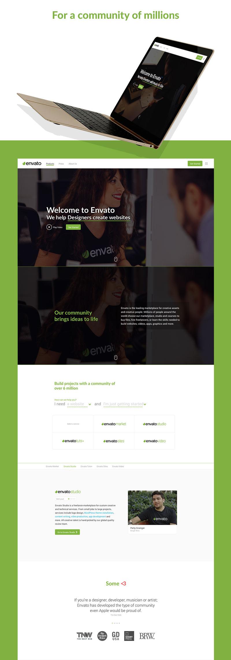 Creative new website for Aussie start up Envato / Carter Digital