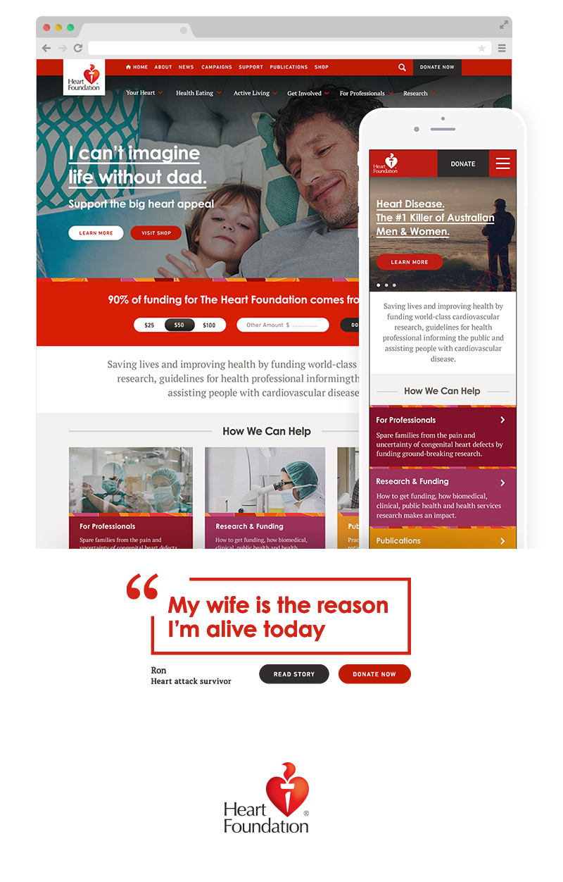 Heart Foundation Web design, user experience, user interface